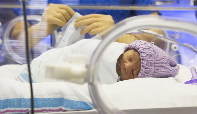 premature newborn in an incubator